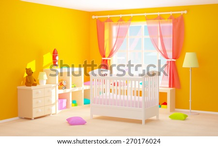 Baby's bedroom with crib, shelves with toys, commode and bear. 3d illustration.