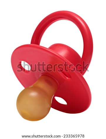 baby's dummy red isolated on white background.  - stock photo