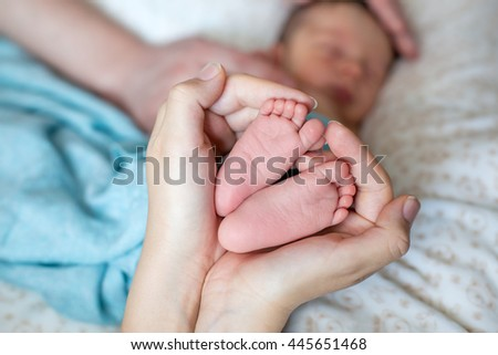 Baby's feet in mommy's hands - stock photo