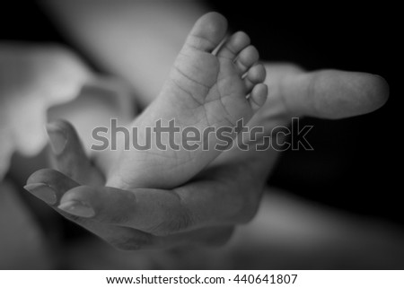 Baby's feet in the hands