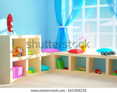Baby's room with shelves with toys. 3d illustration.