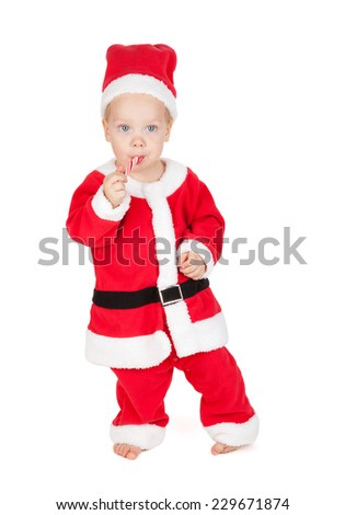 Baby santa with candy cane. Isolated on white background