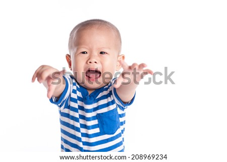 baby screaming isolated on white background - stock photo