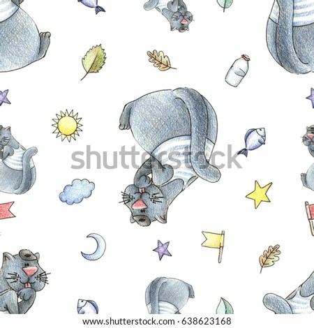 Baby Seamless Hand Drawn Pattern. Cat in a cap, stars, fishes, milk, leaves and suns hand drawn with color pencils. Perfect for a little boy.