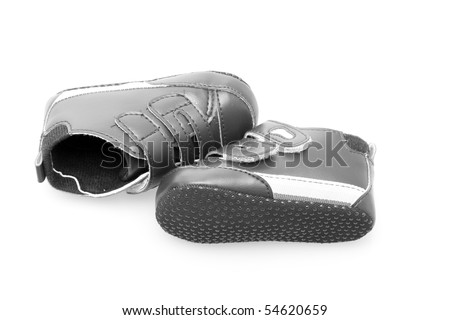 Baby shoes on white with soft shadow - stock photo