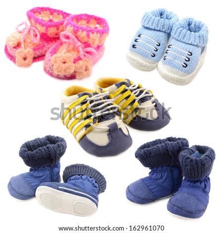 Baby shoes set isolated on white - stock photo