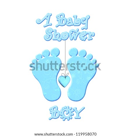 baby shower boy - invitation. Illustration - stock photo