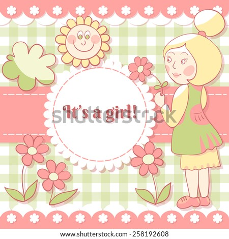 Baby shower card. Girl with flower.