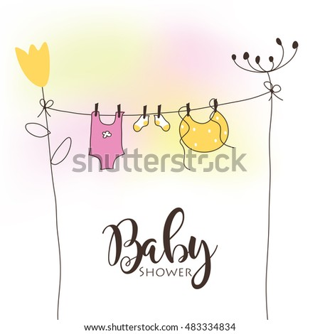 Baby Shower Invitation Template Vector Cute Unique Stock Vector