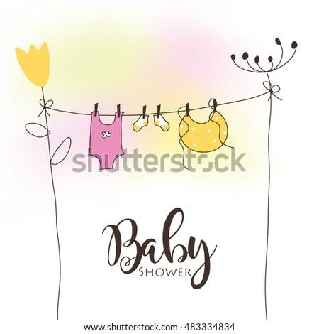 Baby Shower Invitation Template Vector Cute Unique Stock Vector