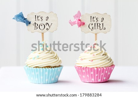 Baby shower cupcakes for a girl and boy - stock photo