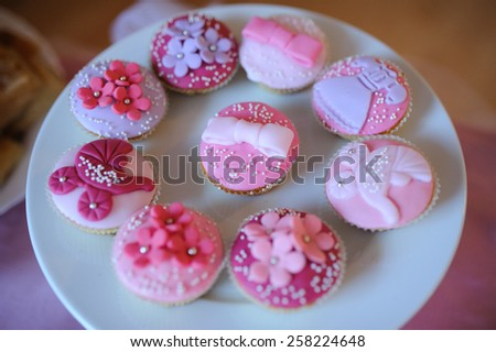 baby shower dessert with delicious sweet cake - stock photo