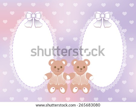 Baby shower for twins frame with bears on blurred purple background - stock photo