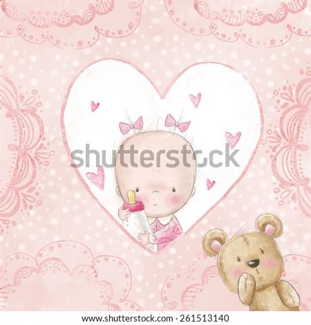 Baby shower greeting card.Baby girl with teddy,Love background for children.Baptism invitation. Newborn card design. Newborn photo-album cover design. Its a girl card design. - stock photo