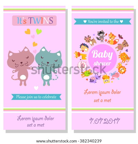 Baby shower invitation card twins kittens stock illustration baby shower invitation card with twins kittens cute animals jpeg cute cartoon animals illustration stopboris Images