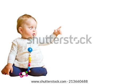 Baby showing with finger - stock photo
