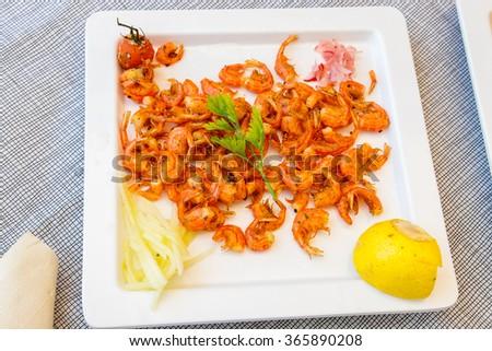 Baby shrimps from island of Symi. Greece - stock photo