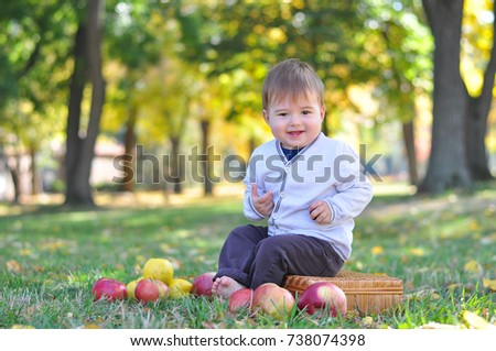 Baby sits on old suitcase surrounded by apples. Happy child in autumn park