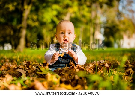 Baby sitting in fallen autumn leaves with surprise expression - stock photo