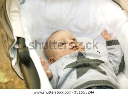 Baby sleep in carriage on nature - stock photo