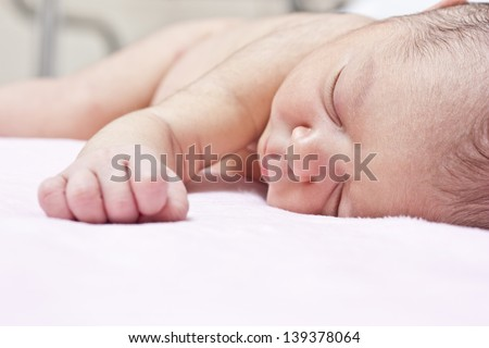 baby sleep in hospital - stock photo