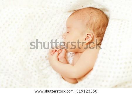 Baby Sleep, New Born Kid Asleep, Newborn One Month Boy Sleeping in White Bed - stock photo