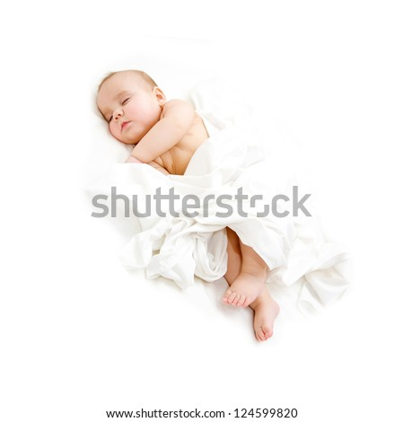 Baby sleeping covered sheet. Isolated on white background.