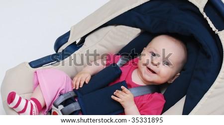 baby smile in car - stock photo