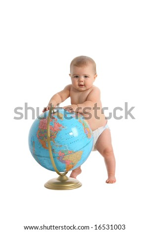 Baby standing with globe on white background - stock photo