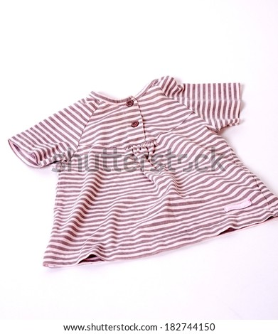 baby striped blouse on a white background - stock photo