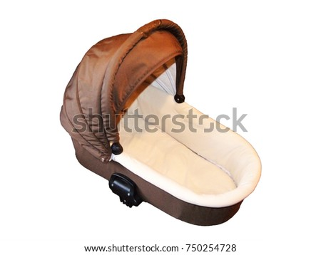 Baby stroller carriage, the travel system isolated on white, brown color