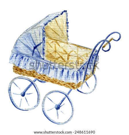 baby stroller, watercolor illustration - stock photo