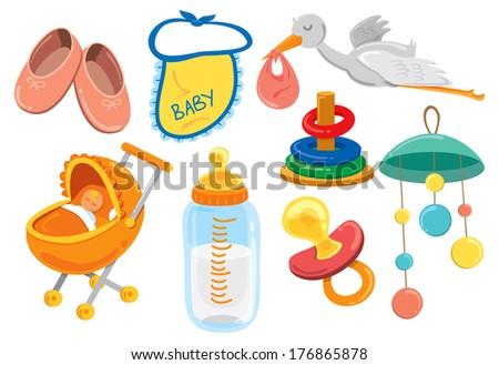 baby stuff cartoon icon - stock photo