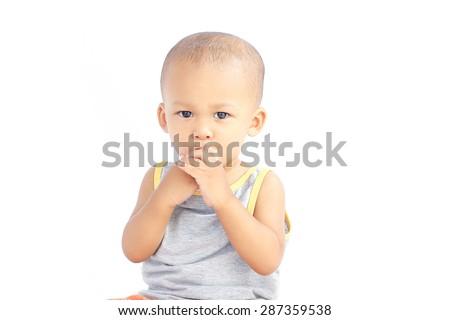 baby suck him fingers - stock photo