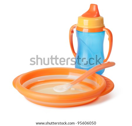 baby tableware on a white background - stock photo