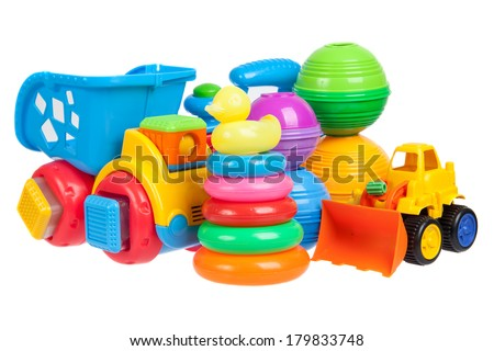 baby toys collection isolated on white - stock photo