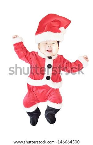 baby wearing christmas costume  - stock photo