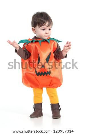 Baby with a halloween pumpkin disguise  on a white isolated background - stock photo