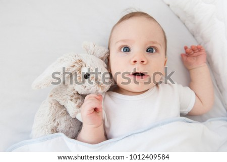 baby with a rabbit in a baby bed