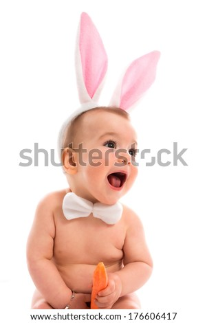 Baby with Bunny Ears and carrot