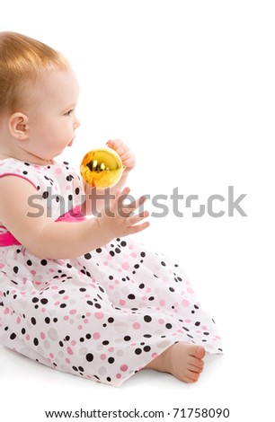 baby with christmas balls isolated on white - stock photo