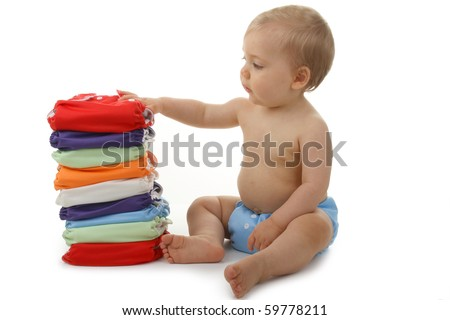 baby with diaper - stock photo