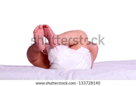 baby with diaper on white - stock photo