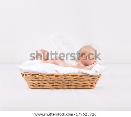 Baby with feather wings lying down in wicker basket isolated on white background, side view, sweet naked little angel, innocence concept - stock photo