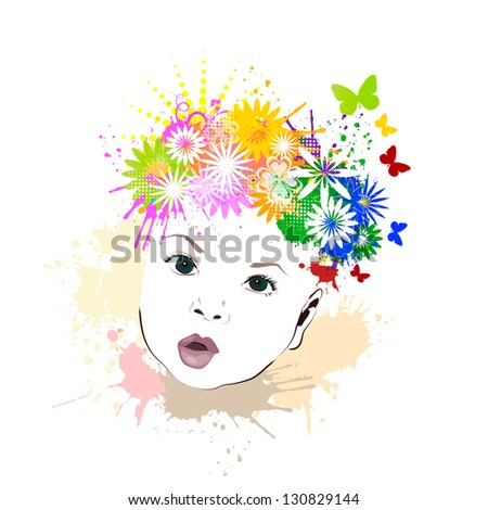 Baby with flowers on her head. Raster - stock photo