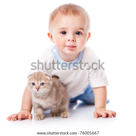 Baby with kitten. Isolated on white background - stock photo
