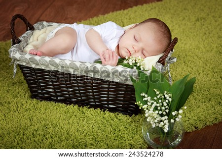 Baby with lilies sleeping in the basket