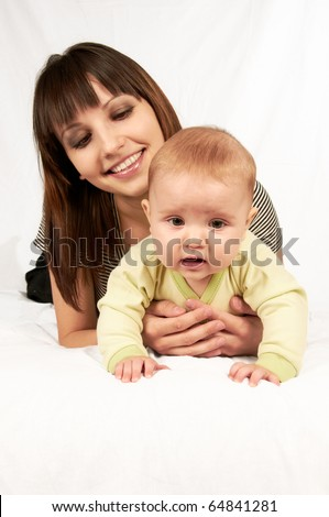 Baby with mom having good time over white background