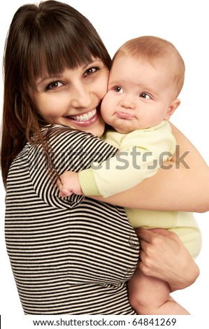 Baby with mom over white isolated background