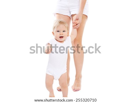 Baby with mother on a white background - stock photo